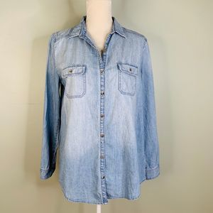 BP Chambray Button Down Shirt Large LS Pockets